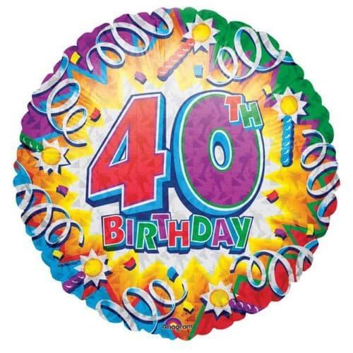 Birthday Explosion 40th Prismatic Foil Balloon