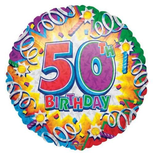 Birthday Explosion 50th Prismatic Foil Balloon
