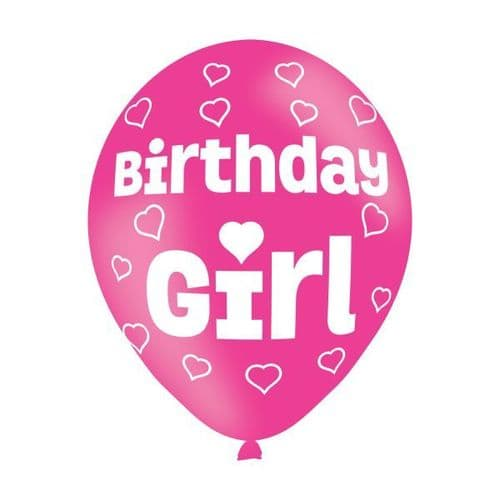 "Birthday Girl Pink Latex Balloons 11"" packet of 6"