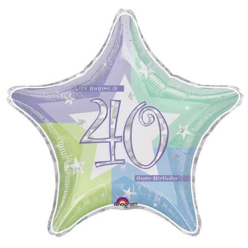 Birthday Shimmer 40th Prismatic Foil Balloon