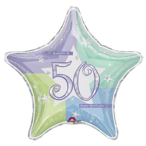 Birthday Shimmer 50th Prismatic Foil Balloon