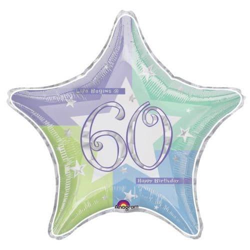 Birthday Shimmer 60th Prismatic Foil Balloon