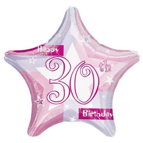 Birthday Shimmer Pink 30th Prismatic Foil Balloon