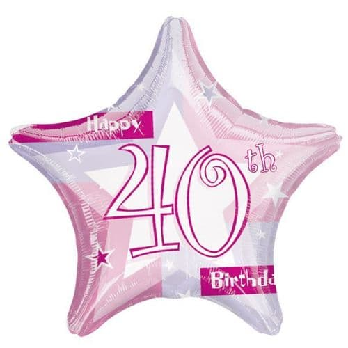 Birthday Shimmer Pink 40th Prismatic Foil Balloon