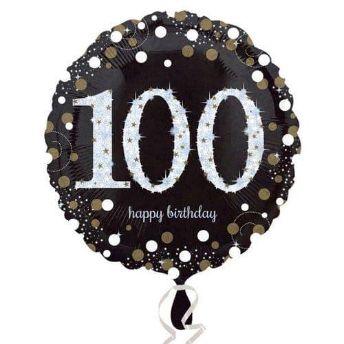 Black & Gold 100th Birthday Foil Balloon