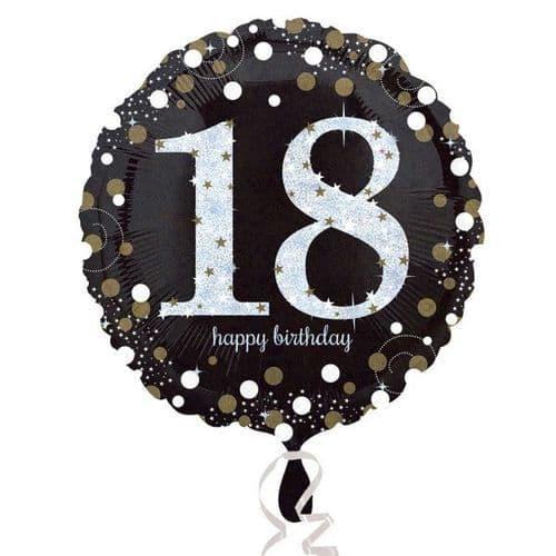 Black & Gold 18th Birthday Foil Balloon