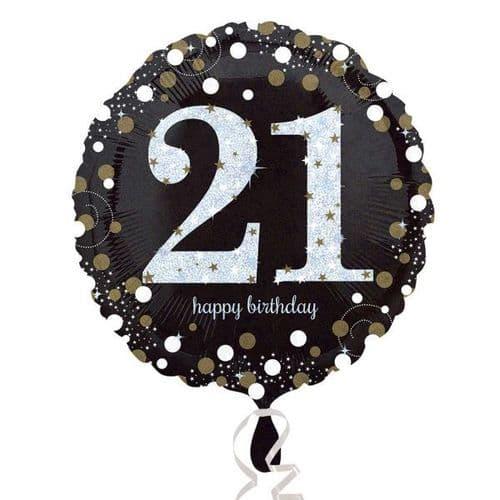 Black & Gold 21st Birthday Foil Balloon