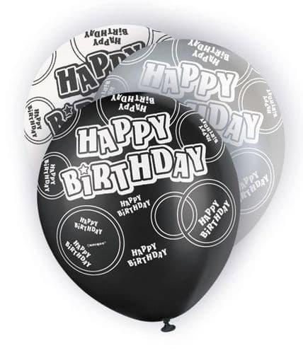 "Black Happy Birthday Glitz Balloons 6 x 12"""