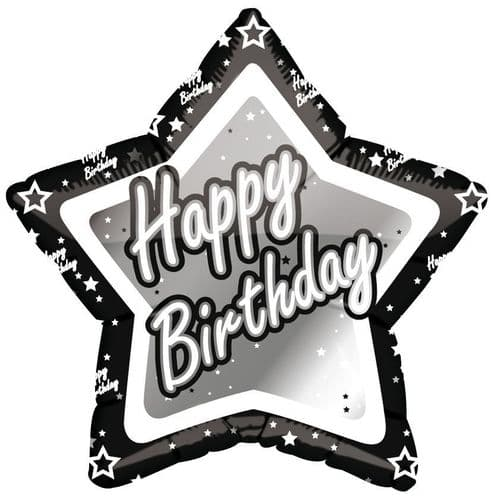 Black & Silver Happy Birthday Star Shaped Foil Balloon