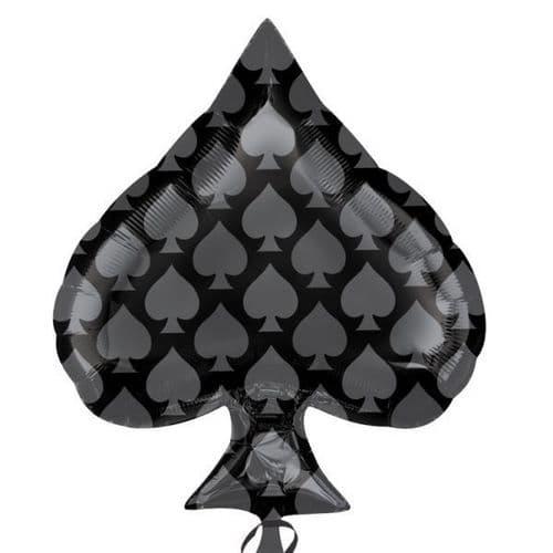 """Black Spade Junior Shape Foil Balloon 18"""" x 22"""""""