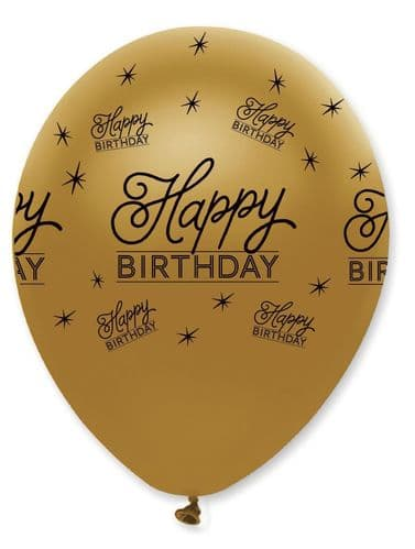 """Black and Gold Happy Birthday Latex Balloons Pearlescent All Round Print 50 x 12"""" per pack"""