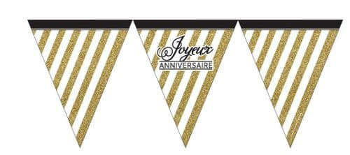 Black and Gold Joyeux Anniversaire Paper Flag Bunting 12ft