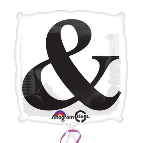 """Black """"&"""" on White Standard Foil Balloon"""