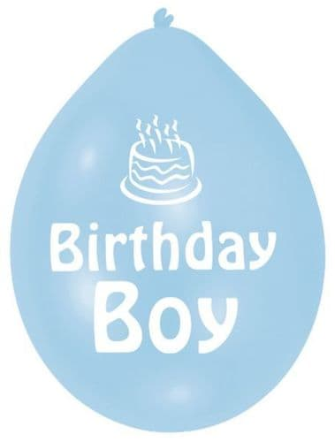 Blue Birthday Boy Latex Balloons