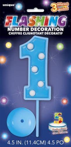 Blue Flashing Number 1 Decoration
