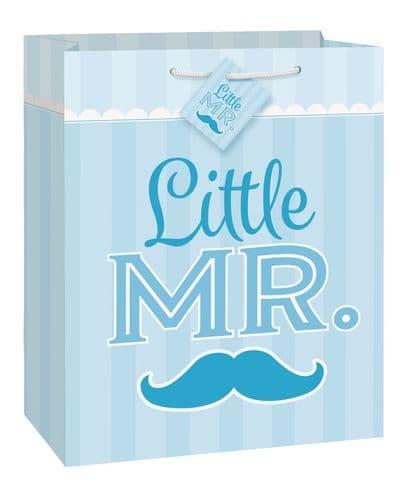 Blue Mustache Little Boy Giftbag-Large