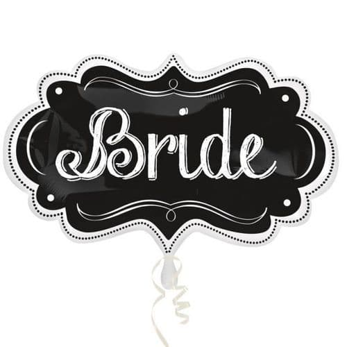 """Bride Chalkboard Marquee SuperShape Foil Balloons 11"""" x 34"""""""