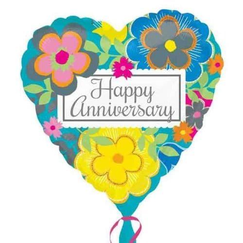 Bright Floral Anniversary  Standard Foil Balloon