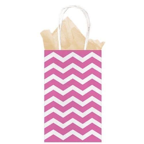 Bright Pink Chevron Paper Gift Bags 21cm x 13cm x 9cm