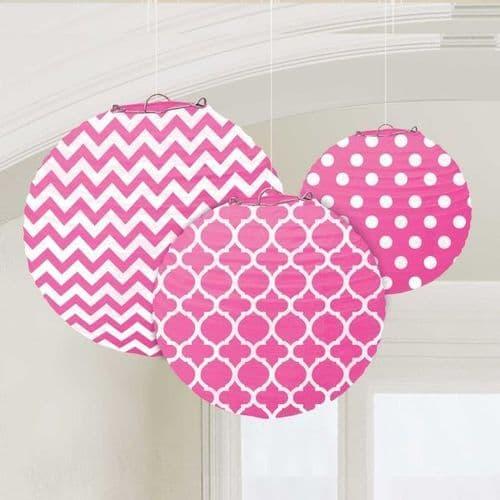 Bright Pink Dots & Chevron Round Lanterns 24cm pack of 3.