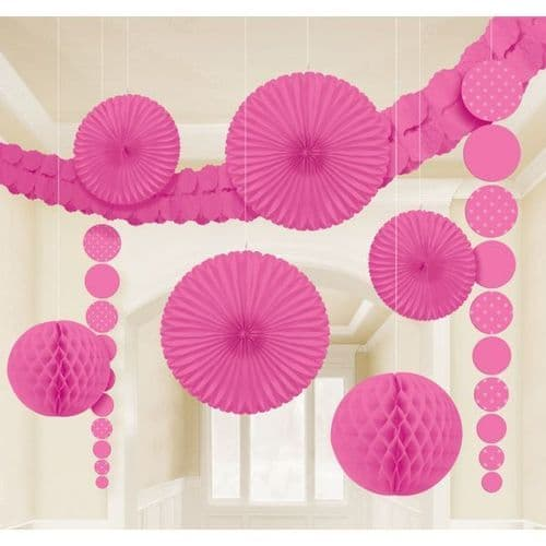 Bright Pink Dots Party Decoration Kit