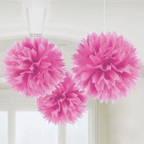 Bright Pink Fluffy Paper Decorations 40cm pack of 3.