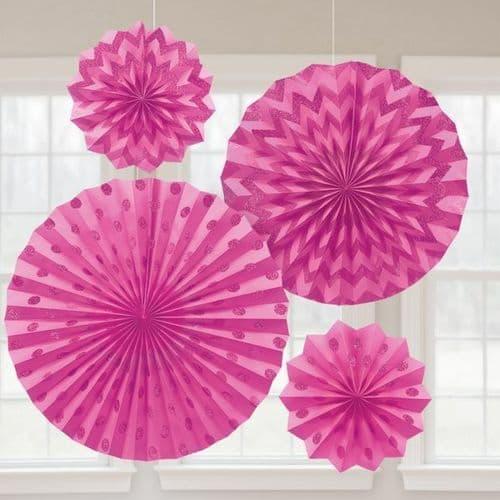 Bright Pink Glitter Paper Fans/4