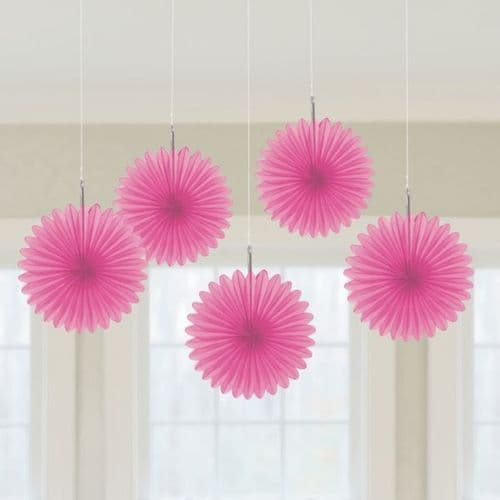 Bright Pink Mini Paper Fans 15cm pack of 5.