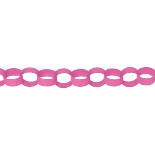 Bright Pink Paper Chains Link Garlands 3.9m