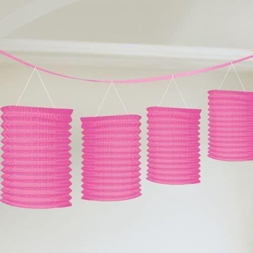 Bright Pink Paper Lantern Garlands 3.65m