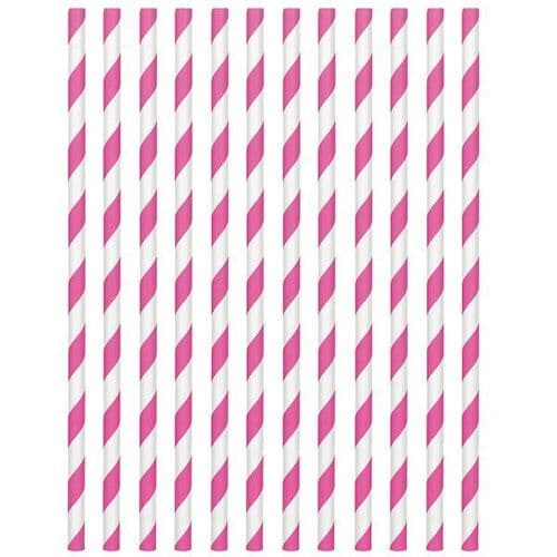 Bright Pink Paper Straws 19cm pack of 24.