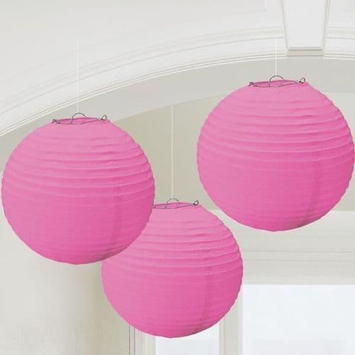 Bright Pink Round Paper Lanterns 24cm 3 per pack.