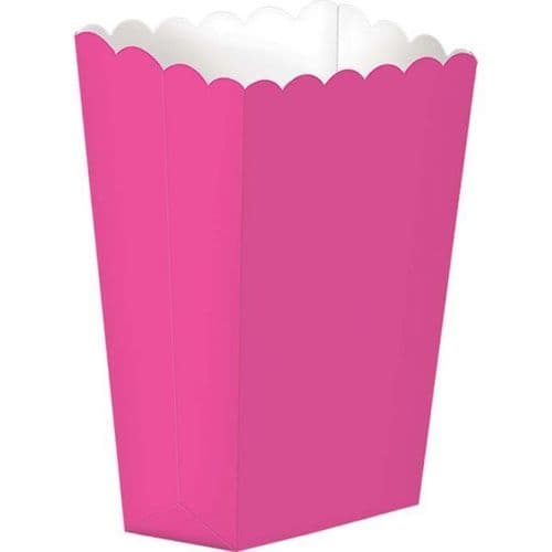 Bright Pink Small Paper Popcorn Boxes pack of 5.