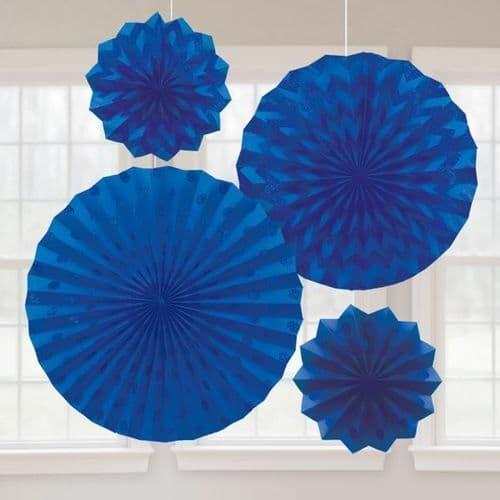 Bright Royal Blue Glitter Paper Fans/4