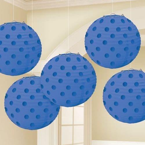 Bright Royal Blue Hot Stamped Paper Lanterns 12cm pack of 5.