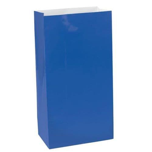 Bright Royal Blue Mini Paper Bags 12 per pack.