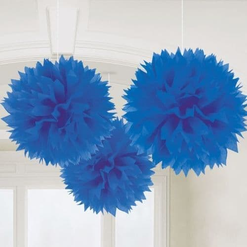 Bright Royal Blue Paper Fluffy Decorations 40cm 3 per pack.