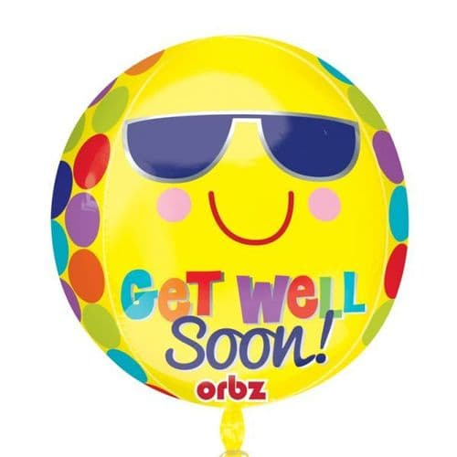 "Bright Sunny Get Well Soon Orbz Foil Balloon 15"" x 16"""