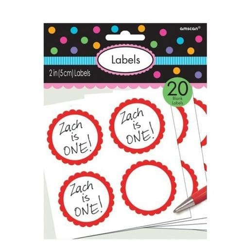 Candy Buffet Scalloped Labels Apple Red pack of 5.