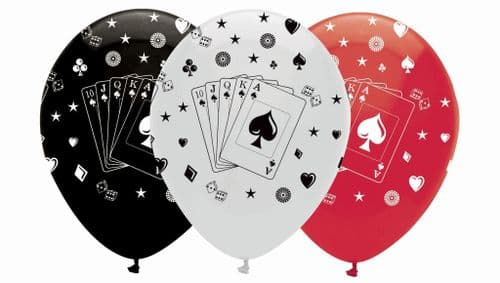 """Card Night Latex Balloons All Round Print 6 x 12"""" per pack"""