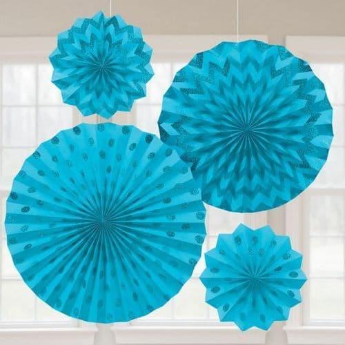 Caribbean Blue Glitter Paper Fans/4