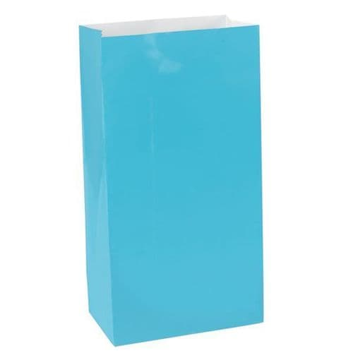Caribbean Blue Mini Paper Bags 12 per pack.