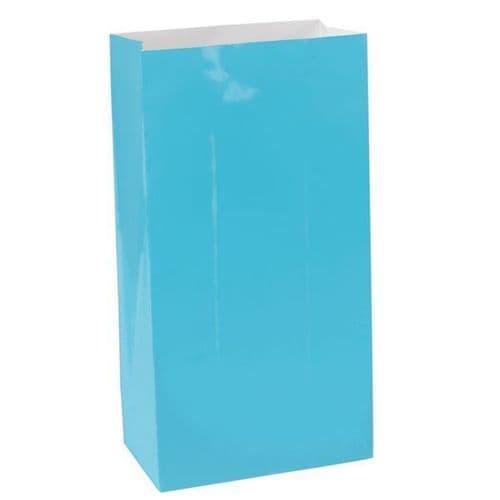 Caribbean Blue Packaged Paper Bags 12 per pack.