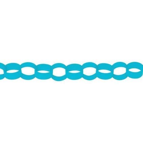 Caribbean Blue Paper Chains Link Garlands 3.9m