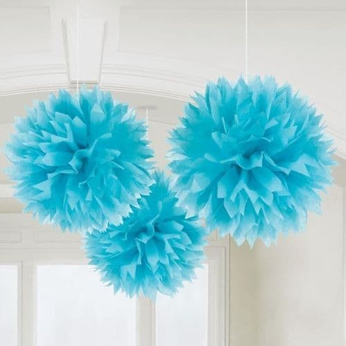 Caribbean Blue Paper Fluffy Decorations 40cm pack of 3.