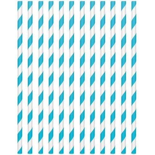 Caribbean Blue Paper Straws 19cm pack of 24.