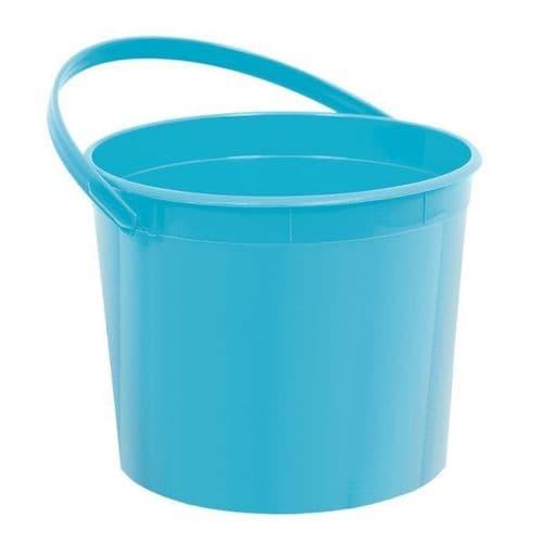 Caribbean Blue Plastic Bucket w/Handles