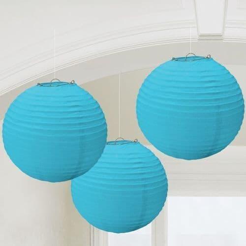 Caribbean Blue Round Paper Lanterns 24cm 3 per pack.