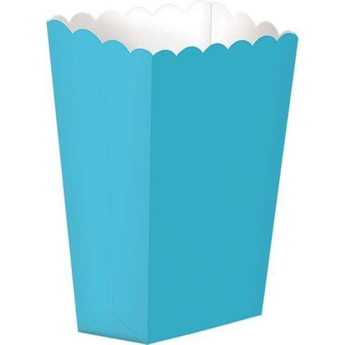 Caribbean Blue Small Paper Popcorn Boxes pack of 5.