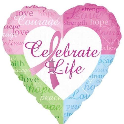 Celebrate Life Heart Pink Foil Balloon